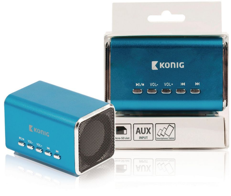 König portable speaker 2.0 3.5 mm 6 W blue
