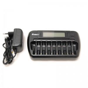 Batterijlader 8-kanaals NiMH en NiCD batterijen