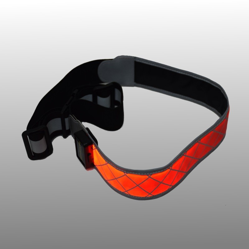 LED running belt with reflector and fiber light