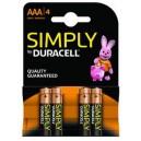 4x AAA MN2400B4S Duracell Simply alkaline batterijen