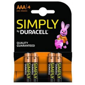 4x AAA MN2400B4S Duracell Simply alkaline battery