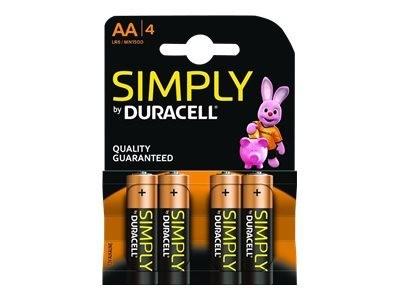 Duracell simply batterij alkaline AA 4-blister