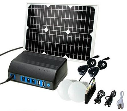Mobile 20W solar light and power set