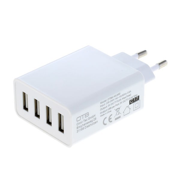 4-poorts USB lader met smart IC - 5A