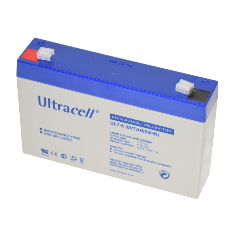 Ultracell rechargeable lead-acid battery 6V 7Ah